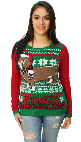 Ugly Christmas Sweater Women's Wiener Wonderland Pullover Sweater