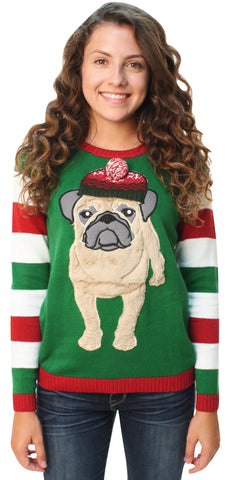 Ugly Christmas Sweater Junior's 3D Furry Pug Beanie Pullover Sweatshirt