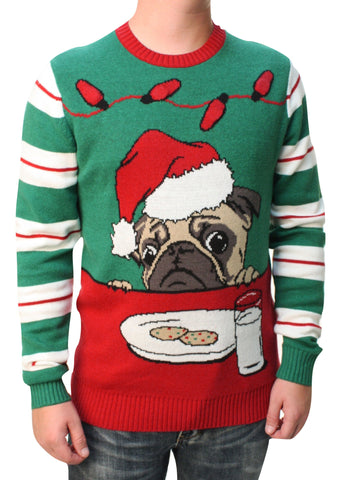 Ugly Christmas Sweater Men's Pug Cookies Light Up Pullover Sweatshirt