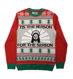 "Ugly Christmas Sweater Men's Jesus ""Tis The Reason"" Pullover Sweatshirt"