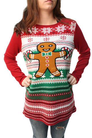 Ugly Christmas Sweater Women's Gingerbread LED Light Up Sweatshirt