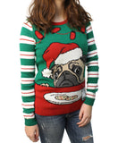 Ugly Christmas Sweater Junior's Pug Cookie LED Light Up Pullover Sweatshirt