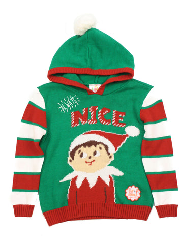 Ugly Christmas Sweater Kid's Always Nice The Elf On The Shelf Hooded Sweatshirt