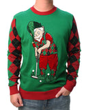 Ugly Christmas Sweater Men's Golfing Elf 3D Hat With Real Bell Felt Sweatshirt