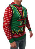 Ugly Christmas Sweater Men's Hooded Elf Ear Pullover Sweatshirt