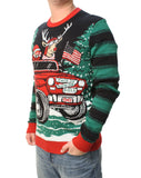 Ugly Christmas Sweater Mens How We Roll Reindeer in Jeep Light Up Sweatshirt