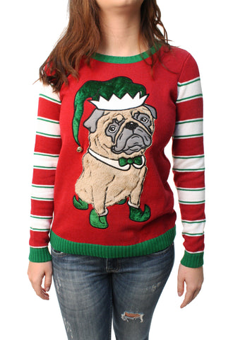 Ugly Christmas Sweater Junior's Pug Elf 3D Jingle Bell Pullover Sweatshirt