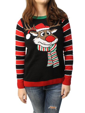 Ugly Christmas Sweater Junior's Reindeer Surprise Scarf Pullover Sweatshirt