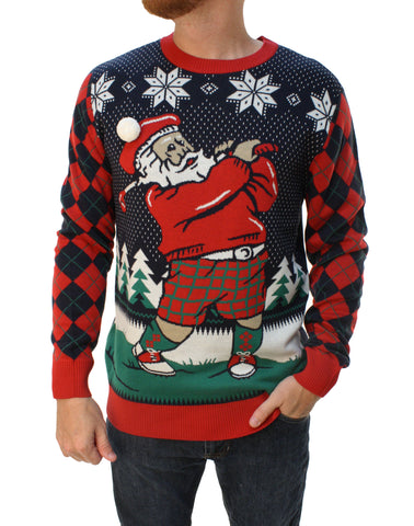 Ugly Christmas Sweater Men's Golfing Santa With 3D Pop Out Hat Sweatshirt