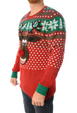 Ugly Christmas Sweater Men's Rudolph Surprise With 3D Pop Out Nose Sweatshirt