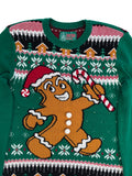Ugly Christmas Sweater Men's Ginger Bread With 3D Pop Out Buttons Sweatshirt