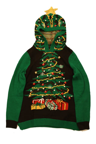 Ugly Christmas Sweater Women's Xmas Tree With Jingle Bells Sweatshirt