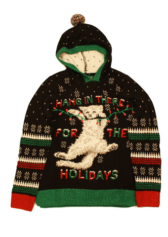 Ugly Christmas Sweater Women's Kitten Hang In There Xmas Hooded Sweatshirt