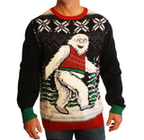 Ugly Christmas Sweater Men's Big And Tall Smiling Yeti Abominable Sweatshirt