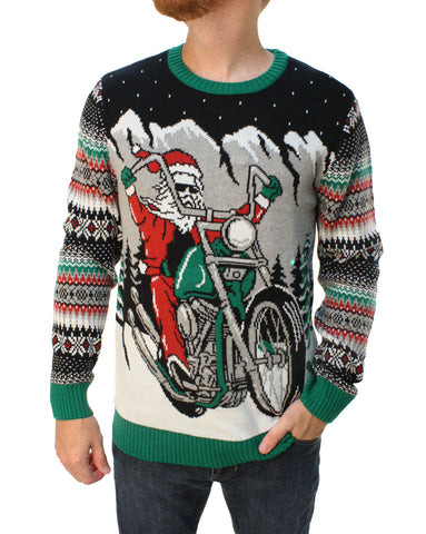 Ugly Christmas Sweater Men's Big And Tall Santa Motorcycle LED Light Up Sweatshirt