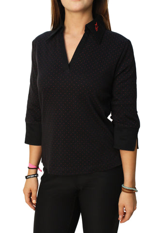Alpinestars Women's Polka Dot V-Neck Collared Shirt