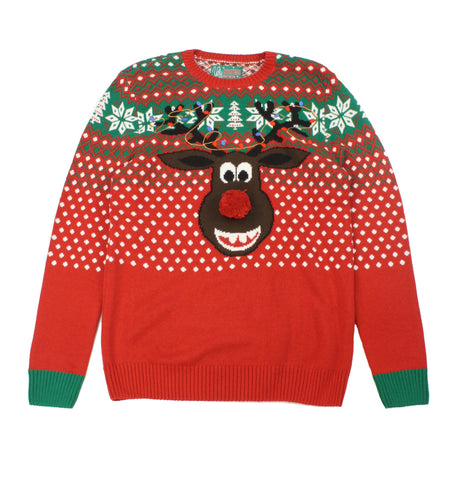 Ugly Christmas Sweaters Unisex Rudolph With Pop Out Nose Sweater