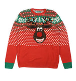 Ugly Christmas Sweaters Plus Size Women's Rudolph W/ Pop Out Nose Sweater