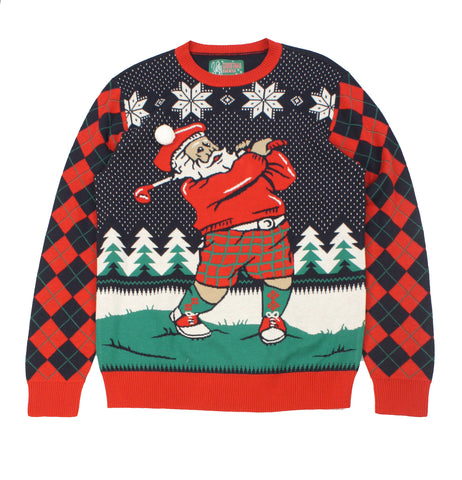 Ugly Christmas Sweaters Plus Size Women's Golfing Santa Sweatshirt
