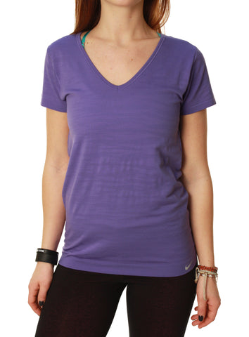 Nike Women's Dri-Fit Knit Texture V-Neck Running Shirt