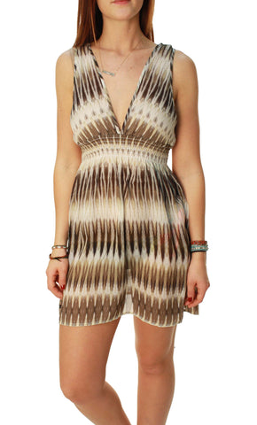 RVCA Women's Leopard Stripe Cassia Feather Pattern Shear Sun Dress