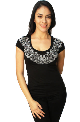 Metal Mulisha Women's Bridal Mandala V-Neck Short Sleeve Graphic T-Shirt