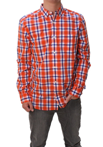 French Connection Men's High Summer Check Long Sleeve Button Down Shirt