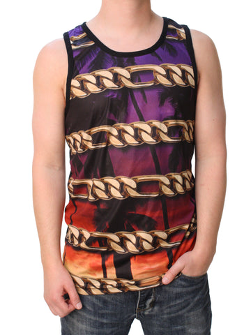 Famous Stars And Straps Men's Chain Coast Mesh Sub Tank Top