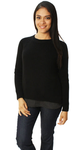 Lauren By Ralph Lauren Women's Pullover Sweater With Sewn In Polk Dot Lining