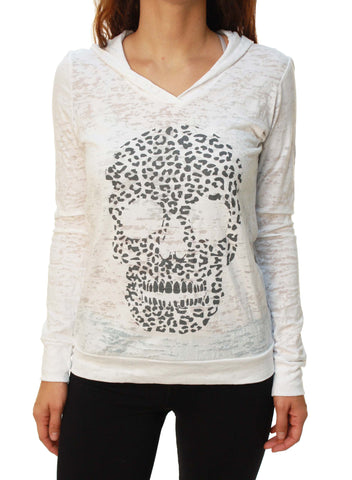 Outlaw Threadz Women's Leopard  Burnout Sheer Hoodie
