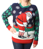 Ugly Christmas Sweater Plus Size Women's Golfing Santa Pullover Sweatshirt