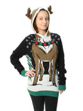 Ugly Christmas Sweater Plus Size Women's Reindeer Hooded Light Up Sweatshirt