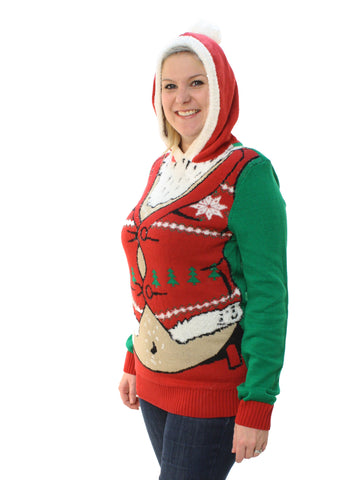 Plus Size Ugly Christmas Sweater.Ugly Christmas Sweater Plus Size Women S Fat Santa Hooded Pullover Sweatshirt