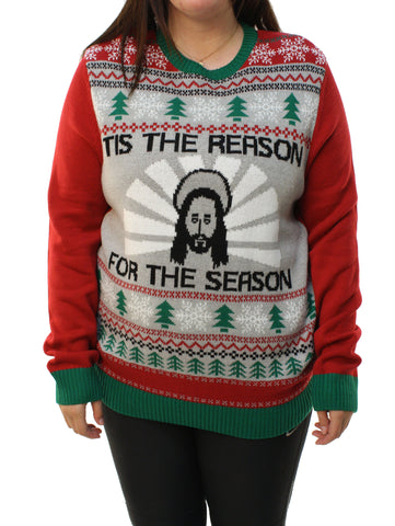 "Ugly Christmas Sweater Plus Size Women's Jesus ""Tis The Reason"" Sweatshirt"