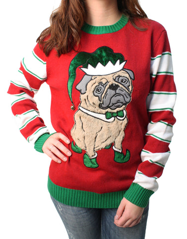 Ugly Christmas Sweater Plus Size Women's 3D Party Pug Elf Hat Sweatshirt