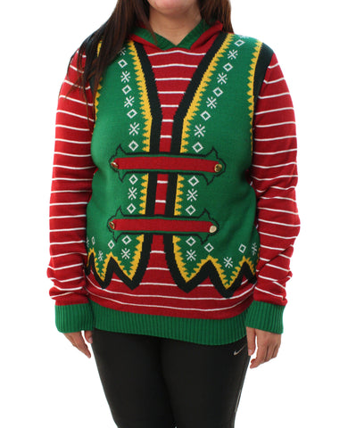 Ugly Christmas Sweater Plus Size Women's Hooded Horn Pullover Sweatshirt