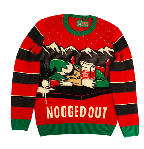 "Ugly Christmas Sweater Plus Size Women's ""Nogged Out"" Party Elf Sweatshirt"