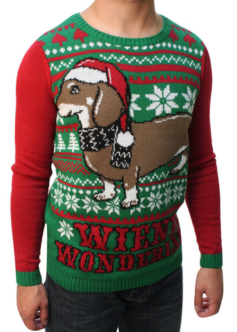 Ugly Christmas Sweater Teen Boy's Wiener Wonderland Pullover Sweater