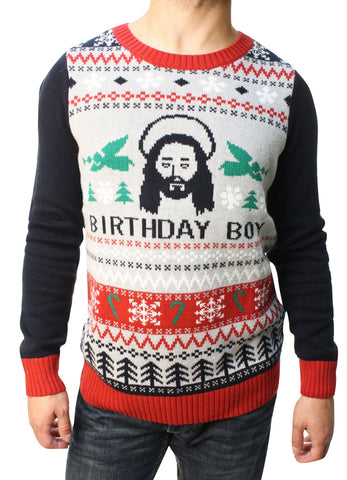Ugly Christmas Sweater Teen Boy's Jesus Birthday Boy Pullover Sweater