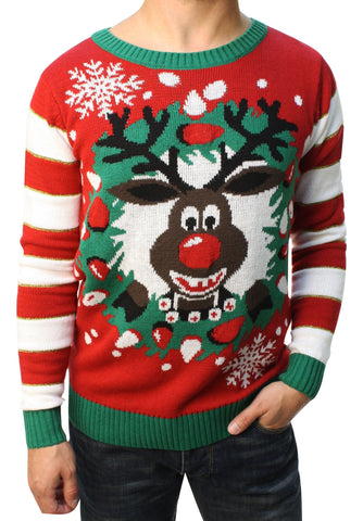 Ugly Christmas Sweater Teen Boy's Rudolph LED Light Up Sweater