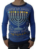 Ugly Christmas Sweater Teen Boy's Come On Baby Light My Menorah LED Sweater