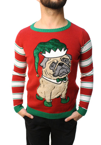 Ugly Christmas Sweater Teen Boy's Pug Elf 3D Jingle Bell Sweatshirt