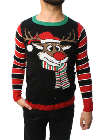 Ugly Christmas Sweater Teen Boy's Reindeer Surprise Scarf Pullover Sweatshirt