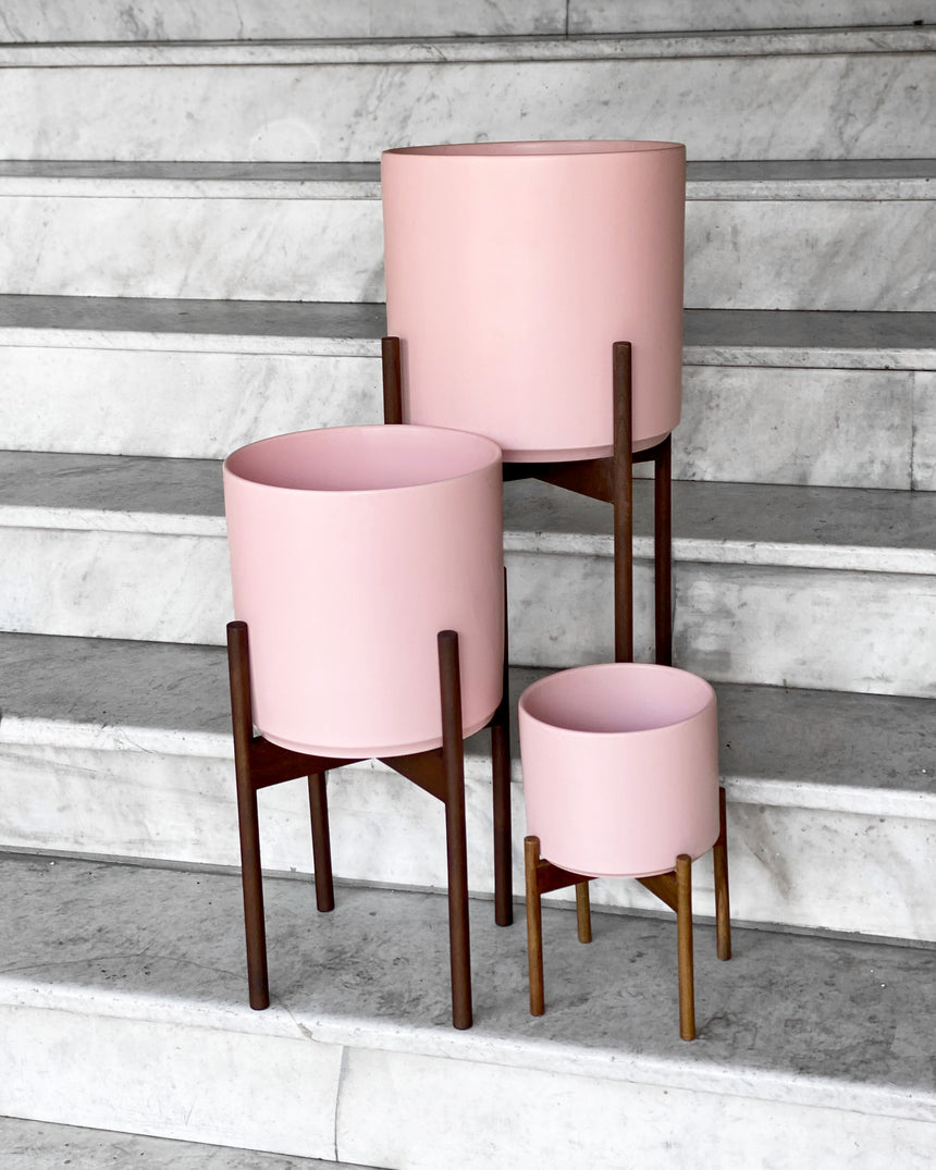 Ceramic Cylinder with Stand - Blush