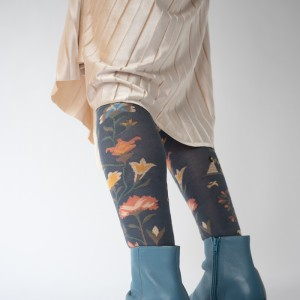 black socks with blue and pink flower design worn on model