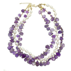 Triple Stranded Amethyst and Pearl Necklace