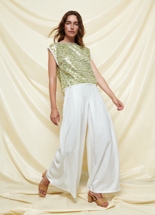 Baruni sequin top and white pants