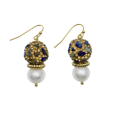 Lapis Lazuli Inlaid Gold Bead and Pearl Earrings - shop idPearl