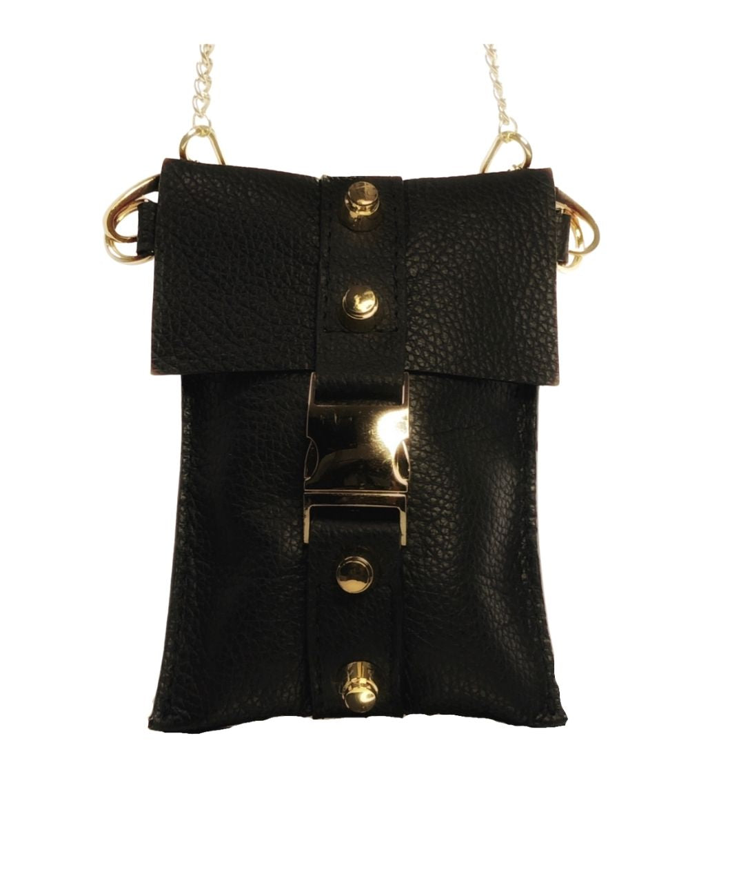 Black Leather Mini Bag - Shopidpearl