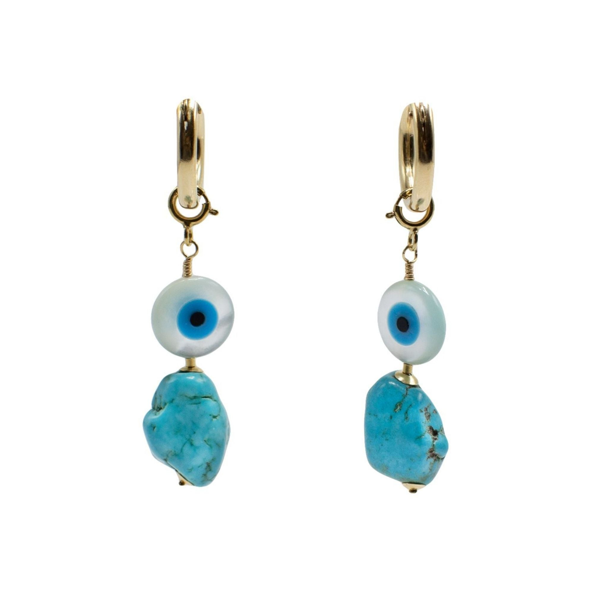 Evil Eye Charm Gold Hoop Earrings